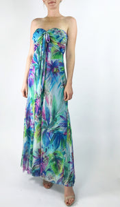 BYANDA Maxi Strapless Ruched Bodice Empire Print Dress