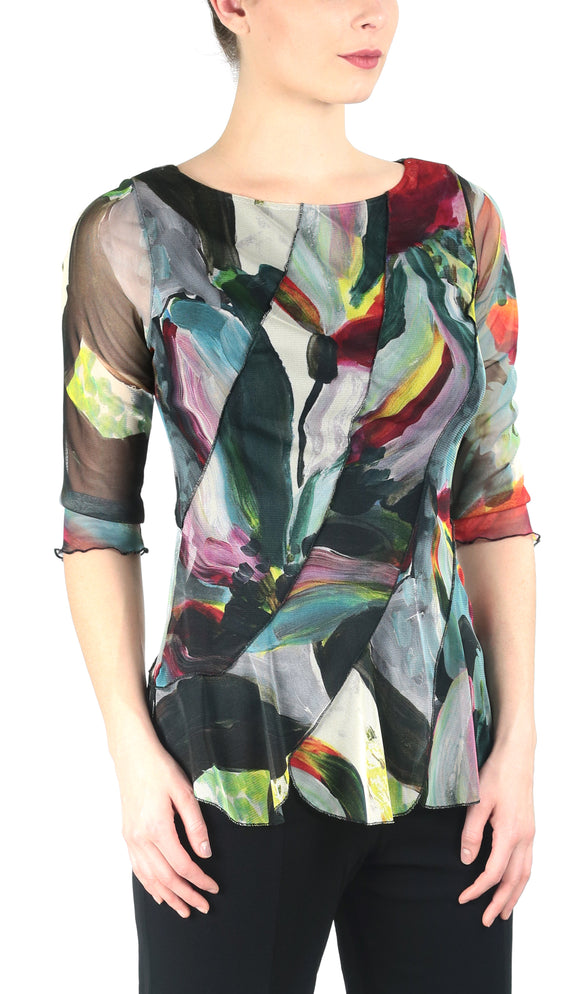 CARMEN Diagonal Panels 3/4 Sleeves Print Top with Scalloped Hem