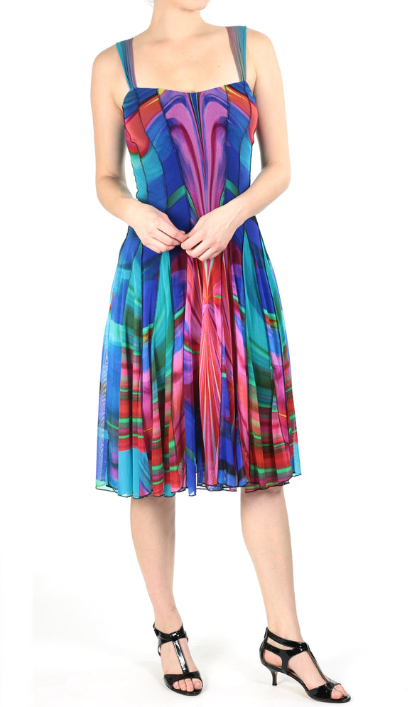 DYLAN Sleveless Abstract Fit N Flare Paneled Dress