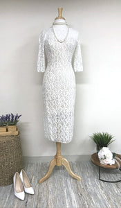 GOLDIE 3/4 Sleeves Lace Dress Off White