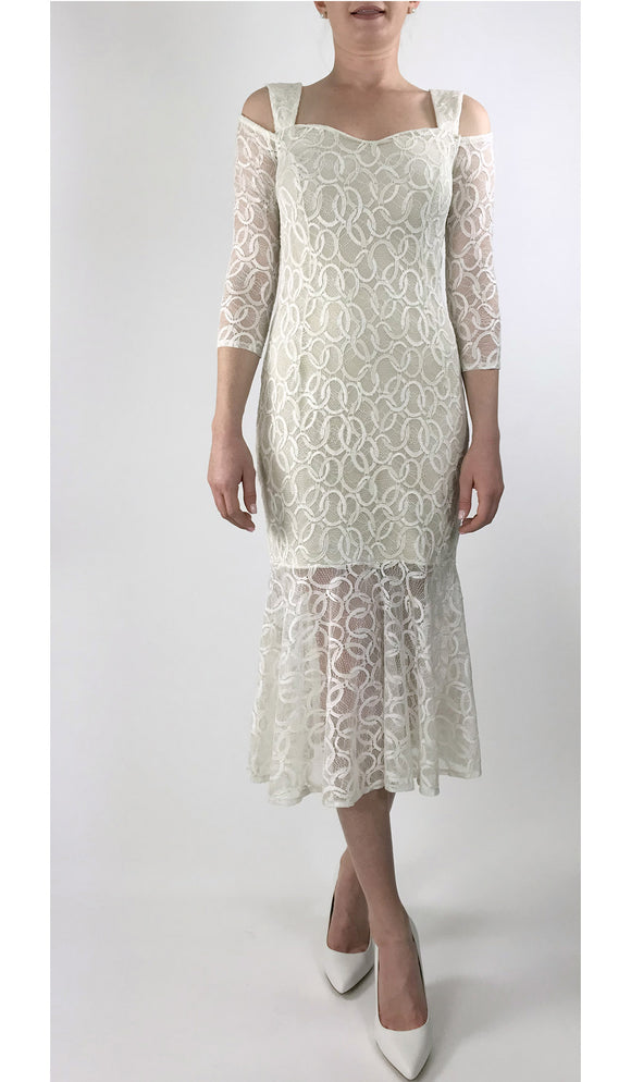 GOLDIE Fitted Ivory Lace Cold-Shoulder Flounce Hem Dress