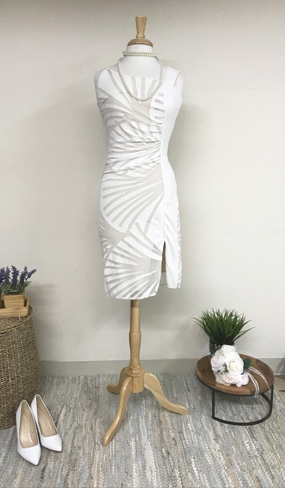 IVY Asymmetrical Neckline Dress Off White