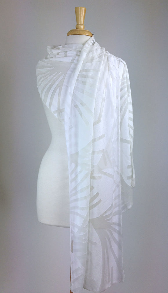 IVY Long and Wide Sheer Ivory Shawl Wrap Stole