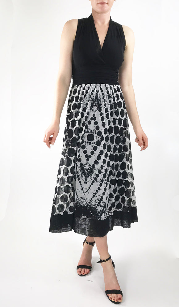 INDIRA Midi Black And White Empire Cummerbund Dress