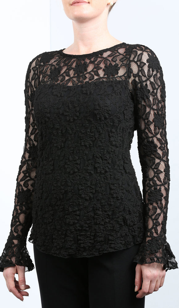 MADELINE Bell Sleeve Lace Top Black
