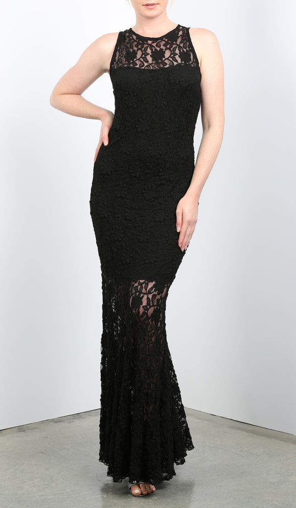 MADELINE Fitted Lace Dress Black