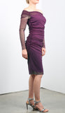MAXIMA Off-Shoulde Ruched Dress Plum