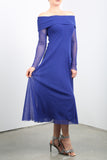MAXIMA Off Shoulder Mid Calf Flared Dress Royal Blue