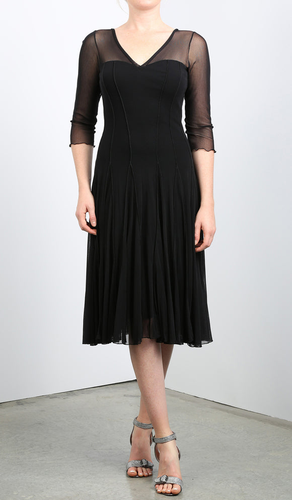 MAXIMA  Fit and Flare 3/4 Sleeves Paneled Dress Black
