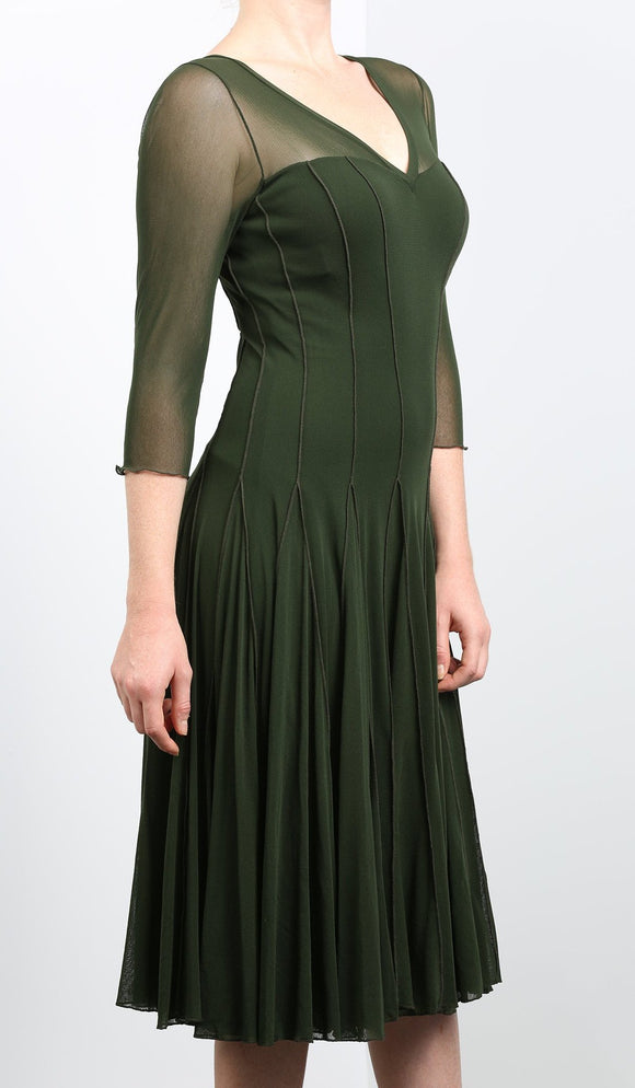 MAXIMA  Fit and Flare 3/4 Sleeves Paneled Dress Olive