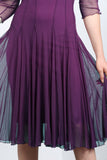 MAXIMA  Fit and Flare 3/4 Sleeves Paneled Dress Plum
