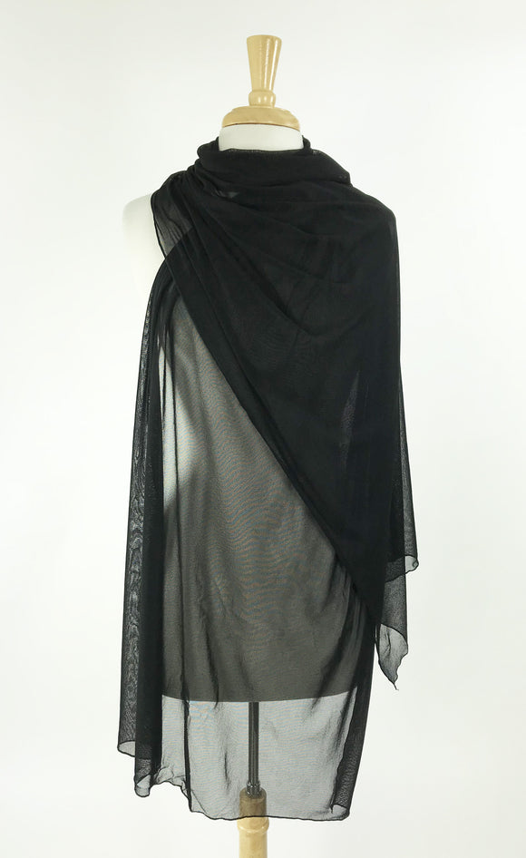 MAXIMA Black Long And Wide Sheer Shawl Stole Wrap Cover