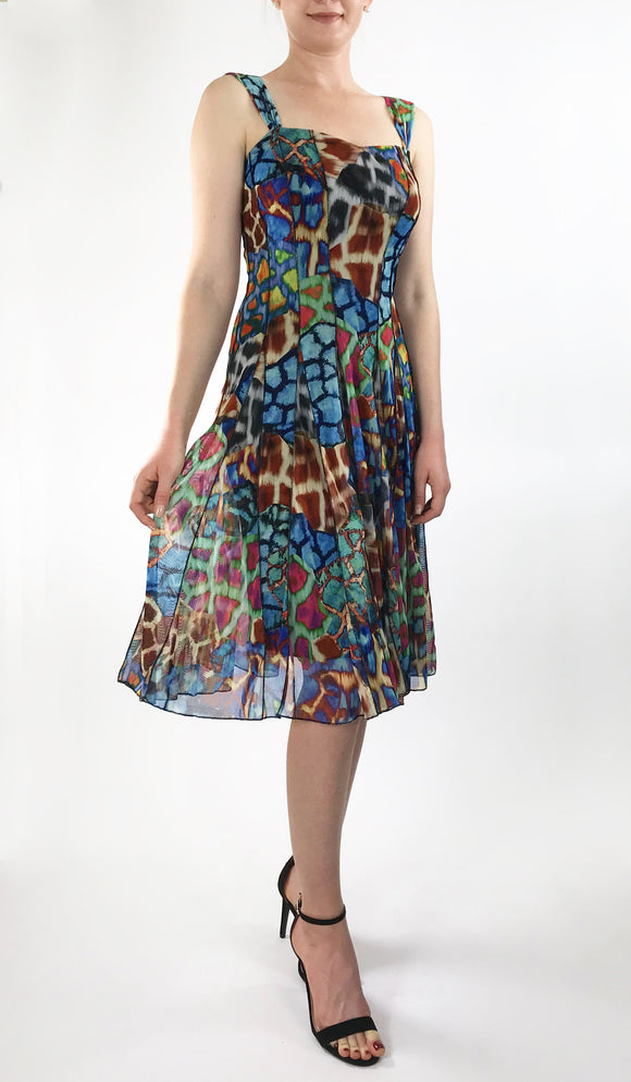 NAMIBIA Sleeveless Fit N Flare Gore Paneled Print Mesh Dress