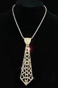 Bridal Prom Crystal Rhinestone Gold Necktie Necklace XC030
