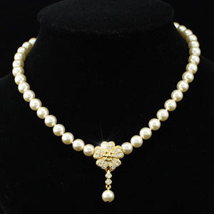 Bridal Ivory Cream Shell Pearl Necklace use Austrian Crystal XC037