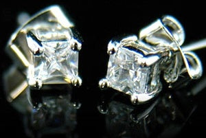 6 mm Cubic Zirconia Stud 18K White Gold Plated Mens Earrings XME183