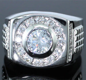 Cubic Zirconia Studs 18k White Gold Plated Wedding Mens Ring XMR134