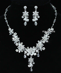 Bridal Handmade Crystal Necklace Earrings Set XS1219
