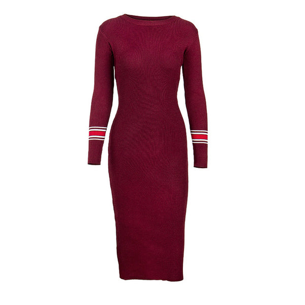 Knitted Striped Bodycon - JSEJ Styles
