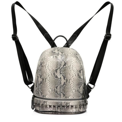 Backpack for womens and teenage girls with artificial leather serpentine - Gray / China / 13 Inches - Backpack