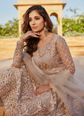 Dusty Beige and Blush Heavy Embroidered Anarkali - Lashkaraa