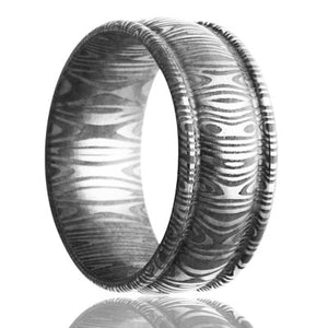 Deep groove Damascus Steel ring with rounded edges and a low dome center