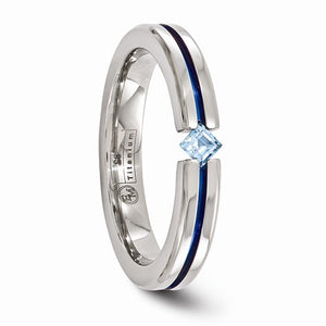 Titanium Blue Topaz And Blue Anodized 4mm Band