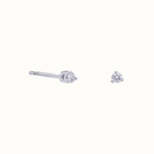 Tiny Diamond 3 Prong Solitaire Stud Earrings
