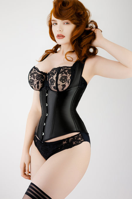 Black High Back Underbust Corset With Straps