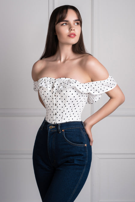 Polka Dot Straight Bustline Corset Top With Off The Shoulder Sleeves