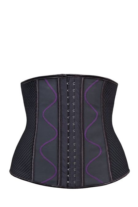 Black Sporty Underbust Waist Cincher With Purple Flatlock Detail and Mesh Panel