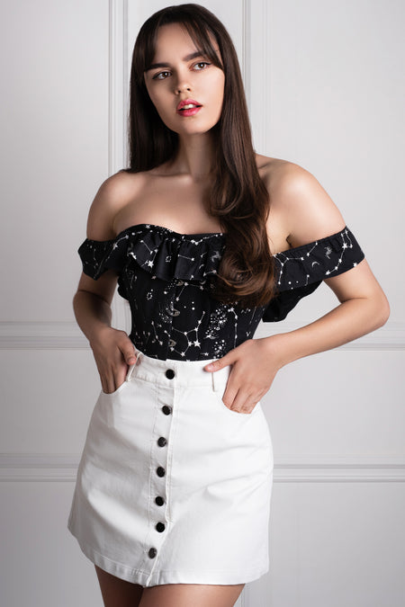 Cotton Astronomy Print Sleeved Corset Top
