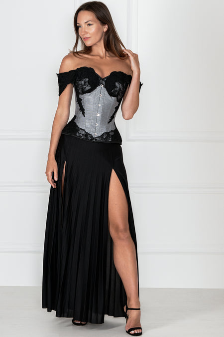 Grey Longline Corset Top with Lace Cap Sleeve