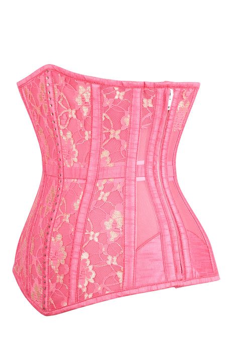 Pink Waist Taming Corset with Mesh Panels and Lace