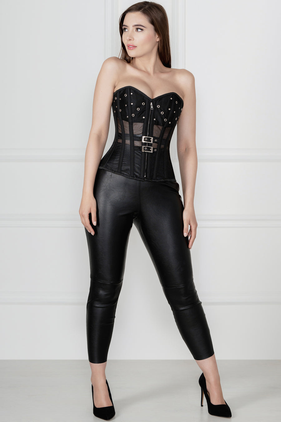 Longline Black Mesh Corset with Front Zip