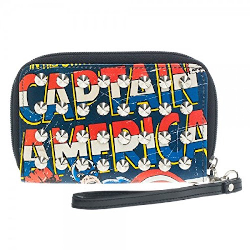 New Marvel Captain America Studded Zip Around Wallet Licensed Clutch