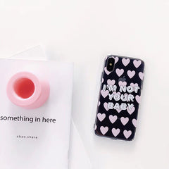 Pink Heart Transparent iPhone Case