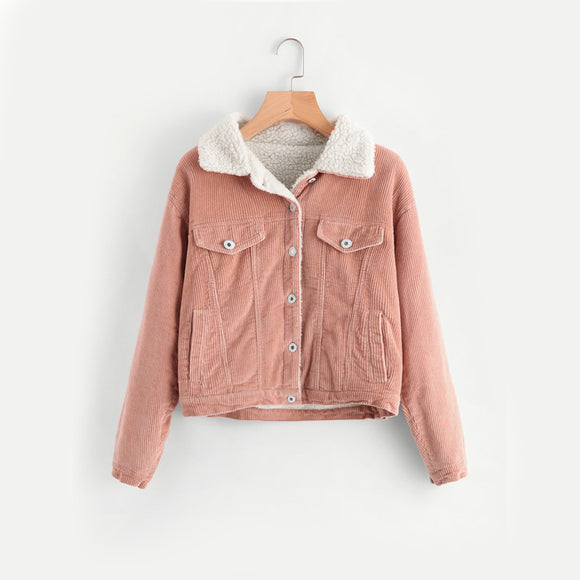 Pink Corduroy Cropped Jacket with Faux Fur Detail.