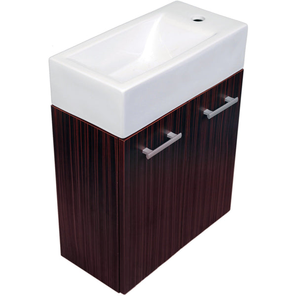 Whitehaus WH114RSCB Wall mount double door vanity complete with a white basin