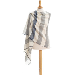 Sea Crush wool and cotton stole scarf