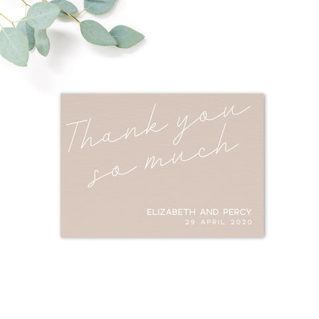 Carter Modern Nude Neutral Wedding thank you so much card
