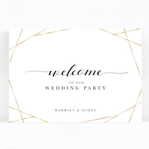 Geo Gold Foil Geometric White Wedding Welcome Sign