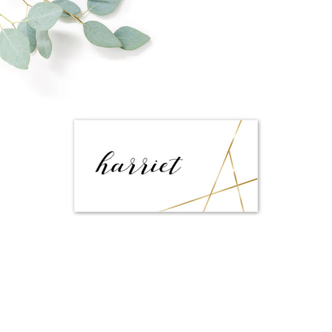 Geo Gold Foil Geometric White Wedding Personalised Place card
