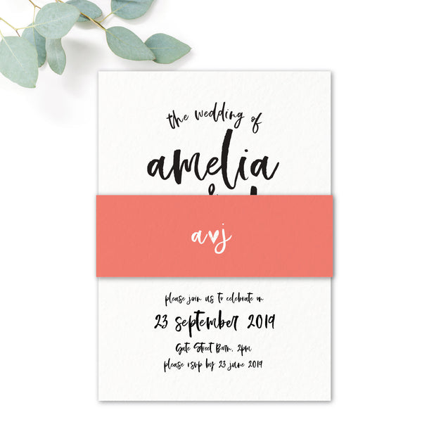 Taylor Coral Colour Pop Brush Calligraphy Wedding Invitation with belly band