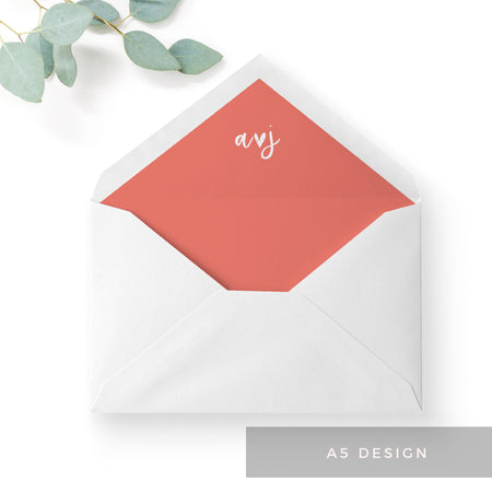 Taylor Coral Colour Pop Brush Calligraphy Wedding Envelope Liner A6 C6