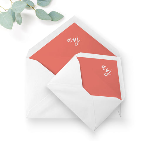 Taylor Coral Colour Pop Brush Calligraphy Wedding Envelope Liners