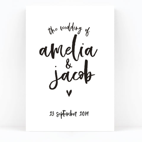 Taylor Black and White Brush Calligraphy Wedding Welcome Sign