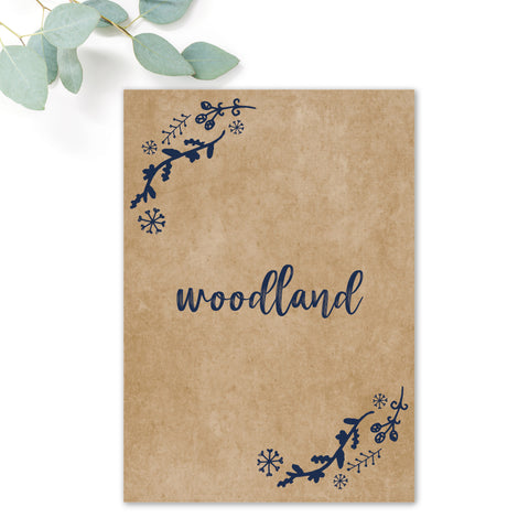 Woodland Navy Rustic Wedding Table Names