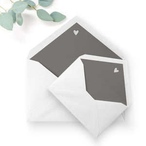 Midnight Grey Heart Envelope Liners