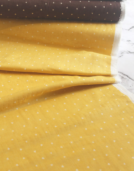 Small White Triangles on Yellow Cotton by Kokka Japan